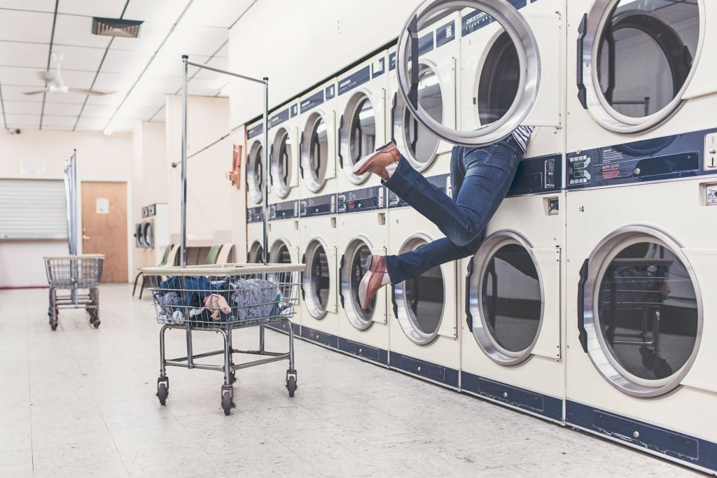 person trapped in washing machine